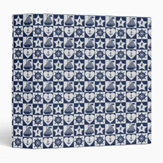 Nautical navy blue white checkered 3 ring binder
