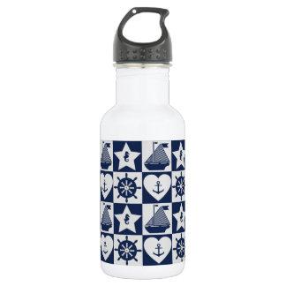 Nautical navy blue white checkered 532 ml water bottle