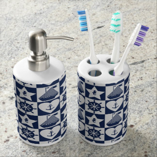 Nautical navy blue white checkered bathroom set