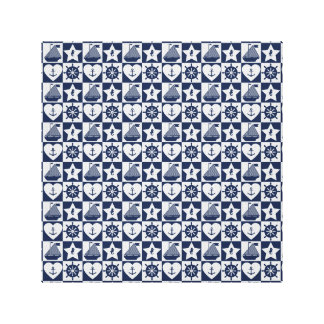 Nautical navy blue white checkered canvas print