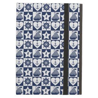 Nautical navy blue white checkered case for iPad air
