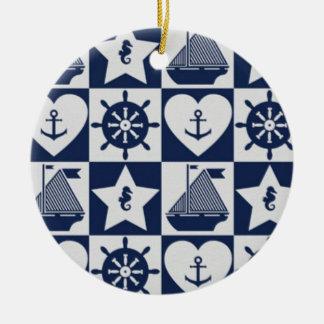 Nautical navy blue white checkered ceramic ornament