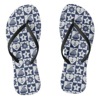 Nautical navy blue white checkered flip flops