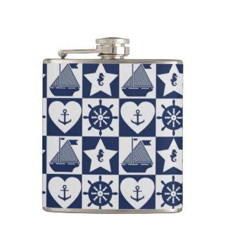Nautical navy blue white checkered hip flask