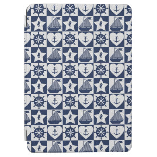 Nautical navy blue white checkered iPad air cover