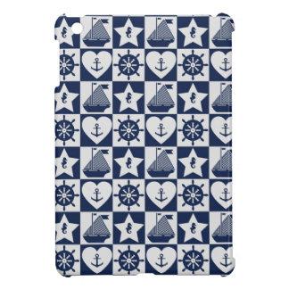 Nautical navy blue white checkered iPad mini cover