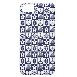 Nautical navy blue white checkered iPhone 5C cases