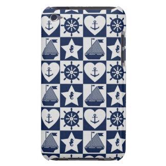 Nautical navy blue white checkered iPod Case-Mate case