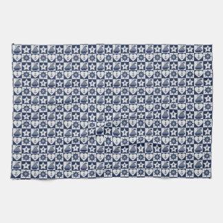 Nautical navy blue white checkered kitchen towel