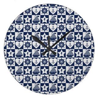 Nautical navy blue white checkered large clock