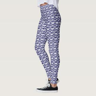 Nautical navy blue white checkered leggings