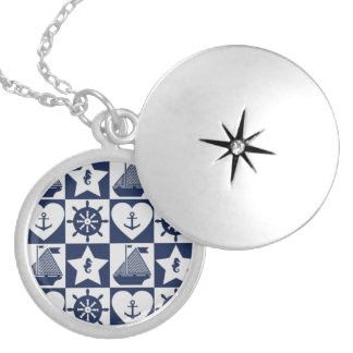 Nautical navy blue white checkered locket necklace
