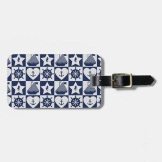 Nautical navy blue white checkered luggage tag