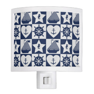 Nautical navy blue white checkered night light