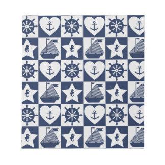 Nautical navy blue white checkered notepad