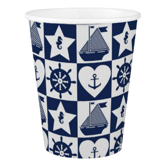Nautical navy blue white checkered paper cup