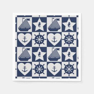 Nautical navy blue white checkered paper napkin