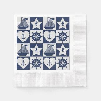 Nautical navy blue white checkered paper napkins