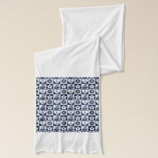 Nautical navy blue white checkered scarf