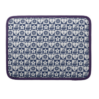 Nautical navy blue white checkered sleeve for MacBook pro