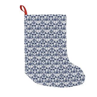 Nautical navy blue white checkered small christmas stocking