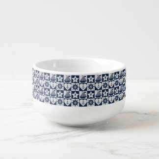 Nautical navy blue white checkered soup mug