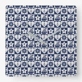 Nautical navy blue white checkered square wall clock