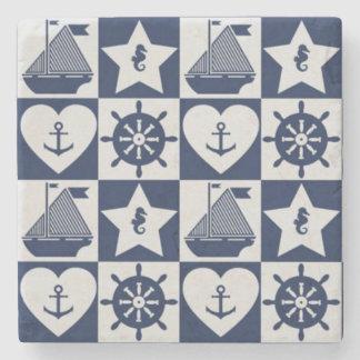 Nautical navy blue white checkered stone coaster