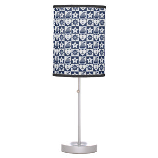 Nautical navy blue white checkered table lamp