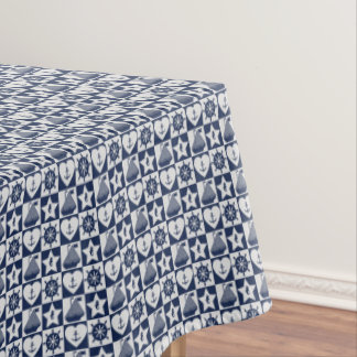 Nautical navy blue white checkered tablecloth
