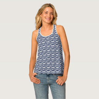 Nautical navy blue white checkered tank top