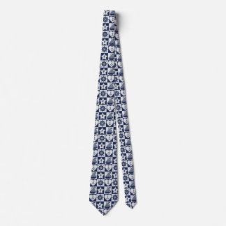 Nautical navy blue white checkered tie
