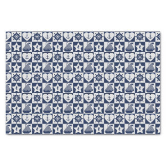 Nautical navy blue white checkered tissue paper