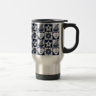 Nautical navy blue white checkered travel mug