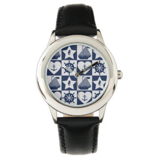Nautical navy blue white checkered watch