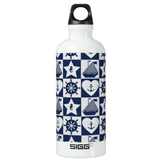 Nautical navy blue white checkered water bottle