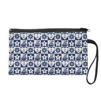 Nautical navy blue white checkered wristlet
