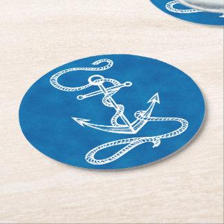 Nautical Navy Blue & White Ship Anchor Beach Party Round Paper Coaster
