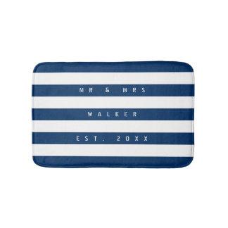 Nautical navy blue & white stripe custom bath mat