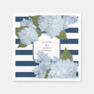 Nautical Navy Blue White Striped Hydrangea Floral Disposable Napkins