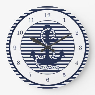 Nautical Navy Blue White Stripes and Blue Anchor Large Clock