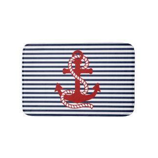 Nautical Navy Blue White Stripes and Red Anchor Bath Mat