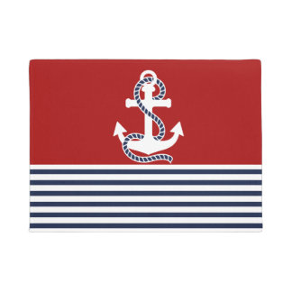 Nautical Navy Blue White Stripes and White Anchor Doormat