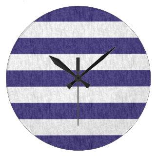 Nautical Navy Blue White Stripes Large Clock