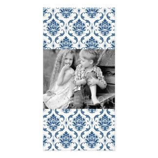 Nautical Navy Blue White Vintage Damask Pattern Customized Photo Card