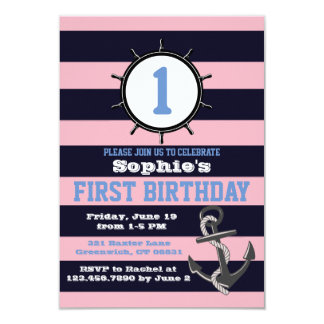 Nautical Navy First Birthday Invitations Pink&Blue