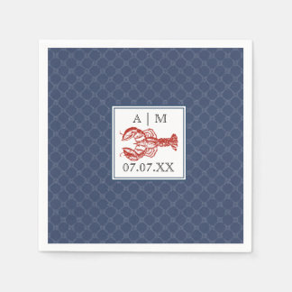 Nautical Navy Knot & Lobster Personalized Napkin Disposable Napkin
