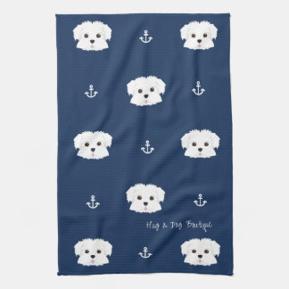Nautical Navy Maltipoo Puppy Kitchen Towel