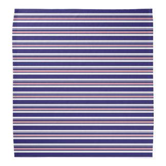 Nautical Navy Pattern, Blue, Red, Stripes Pattern Head Kerchief