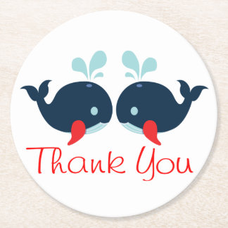 Nautical Navy Red Whales Thank You Wedding Party Round Paper Coaster